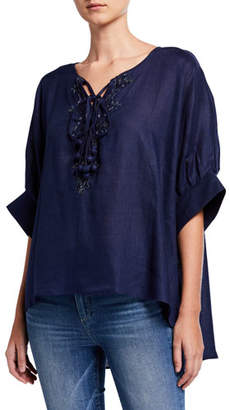 Bella Tu Tessa Elbow-Sleeve Tie-Neck Linen Top w/ Embellishment