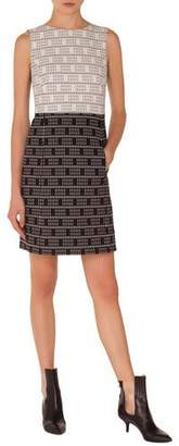 Akris Punto Sleeveless Colorblocked Lace Jacquard Sheath Dress