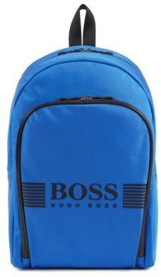 Logo backpack in structured nylon with waterproof zippers