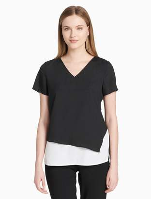 Calvin Klein layered v-neck short sleeve top