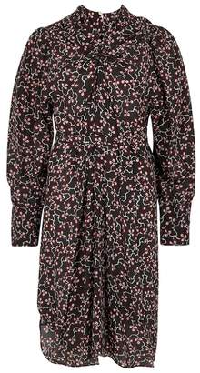 Isabel Marant Leone Black Floral-print Silk Dress