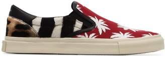 Amiri multicoloured palm print leather slip on sneakers