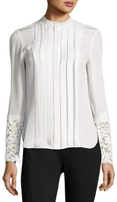 Elie Tahari Nicola Lace-Trim Pleated Silk Blouse $348 thestylecure.com