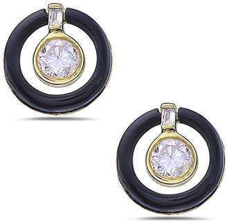 Artisan 18K Earring With Carved Onyx & Diamonds