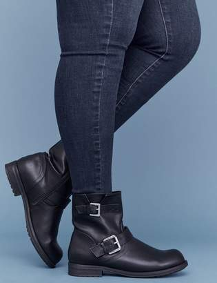 Lane Bryant Faux Leather Moto Boot With Buckles