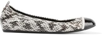 Lanvin - Patent Leather-trimmed Elaphe Ballet Flats - IT40 $725 thestylecure.com