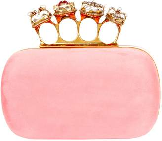 Alexander McQueen Suede Four-Ring Clutch Bag