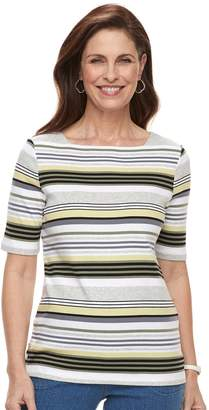 Croft & Barrow Women's Print Button-Hem Squareneck Top