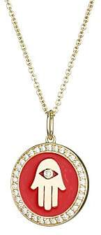 Sydney Evan 14K Yellow Gold, Diamond & Enamel Hand Pendant Necklace