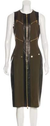 Michael Kors Leather-Trimmed Midi Dress w/ Tags