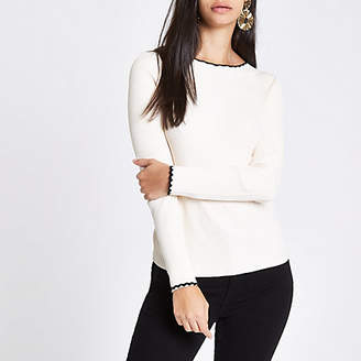River Island Womens Cream tipped long sleeve turtle neck jumper