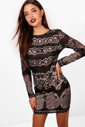 boohoo Lace Panelled Long Sleeve Bodycon Dress