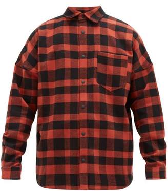 Palm Angels Logo Print Check Cotton Twill Shirt - Mens - Red