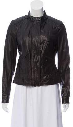 Vince Band-Collar Leather Jacket