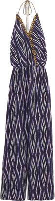 Vix Lena halterneck printed silk jumpsuit $296 thestylecure.com