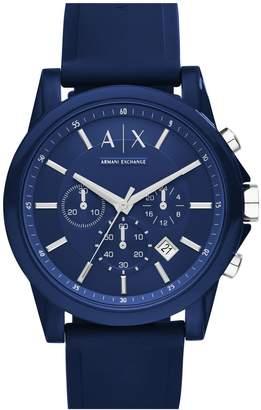Armani Exchange Chronograph Silicone Strap Watch, 44mm
