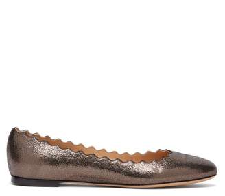 9f80a88f873 Chloé Lauren Scallop Edge Leather Ballet Flats - Womens - Brown