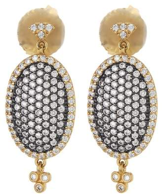 Freida Rothman 14K Gold & Rhodium Plated CZ Pave Oval Drop Earrings