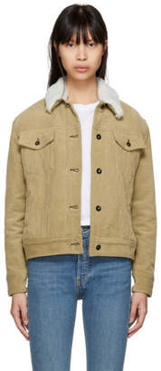 Rag & Bone Khaki Corduroy Oversized Shearling Collar Jacket