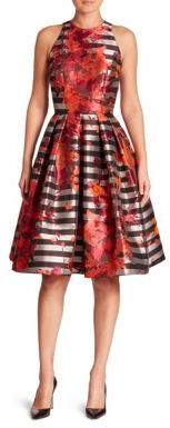 Carmen Marc Valvo Carmen Marc Valvo Floral & Striped Fit-&-Flare Dress