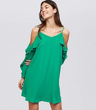 LOFT Petite Strappy Cascade Swing Dress