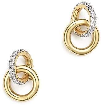 Adina 14K Yellow Gold Pavé Diamond Interlocking Loop Stud Earrings
