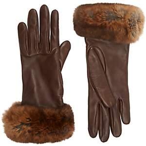 Barneys New York Women's Fur-Cuff Gloves - Brown