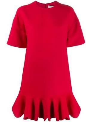 Valentino Crepe Ruffle Hem Mini Dress