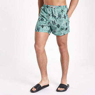River Island Only and Sons blue print swim trunks