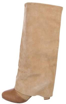 See by Chloe Suede Cap-Toe Fold-Over Boots