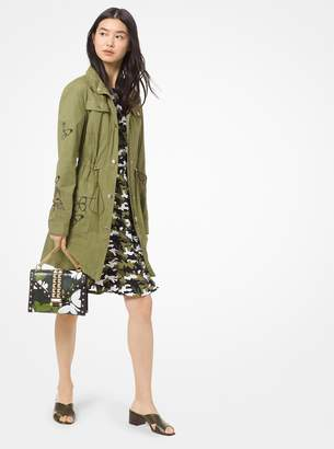 MICHAEL Michael Kors Butterfly Embroidered Lightweight Twill Cargo Jacket