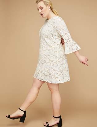 Flounce-Sleeve Lace Dress