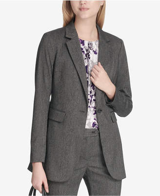 Calvin Klein Petite Herringbone One-Button Jacket