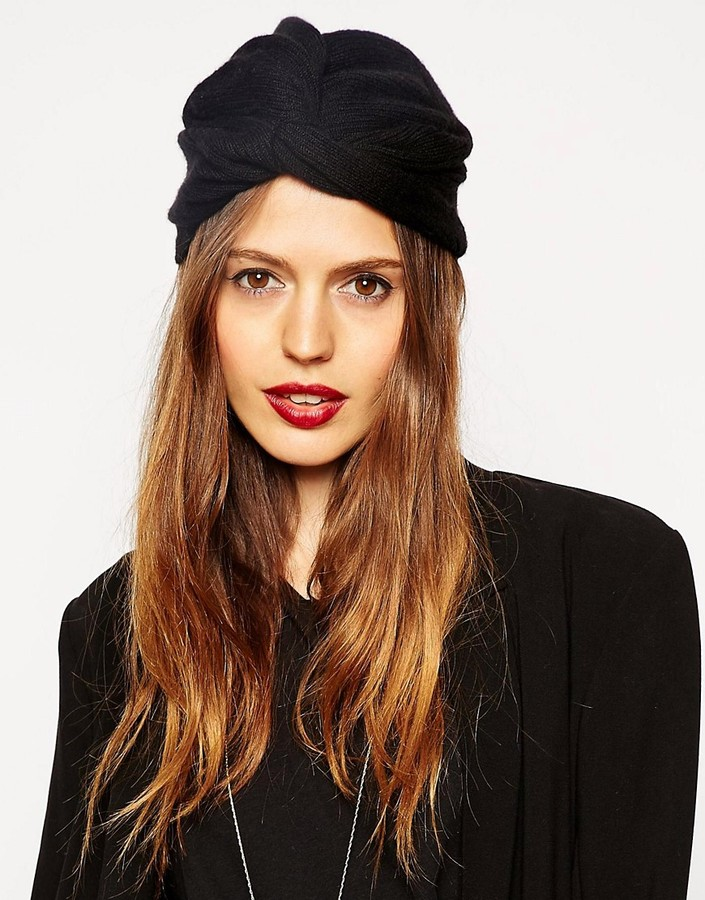 ASOS Fine Rib Knitted Turban Hat - Black