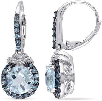 Concerto 0.1 CT. T.W. Diamond and Blue Topaz Sterling Silver Drop Earrings