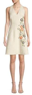 Elie Tahari Londa Embroidered A-Line Pocket Dress