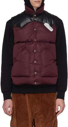 Palm Angels Leather yoke down puffer vest