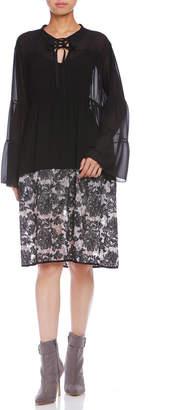 Paola Frani (パオラ フラーニ) - PAOLA FRANI レース切替 インナー付 ギャザー ドレス ブラックマルチ s