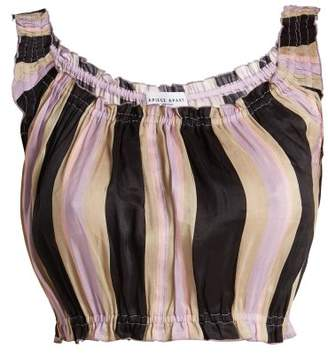 Apiece Apart Shina Striped Linen And Silk Blend Cropped Top - Womens - Purple Stripe