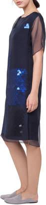 Akris Ai Bateau-Neck Sequined A-Line Dress with Organza Overlay