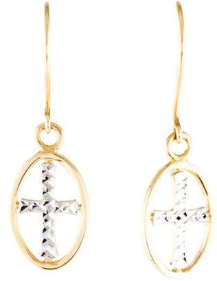 14K Two-Tone Oval Cross Drop Earrings