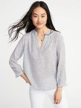 Old Navy Relaxed Tie-Cuff Linen-Blend Top for Women