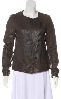 Tibi Leather Zip-Up Jacket