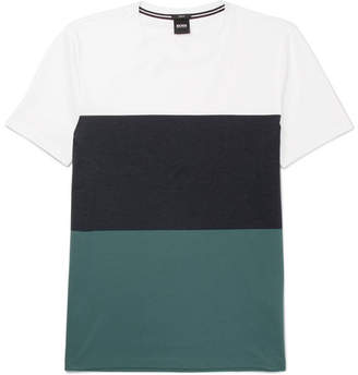 HUGO BOSS Slim-Fit Colour-Block Cotton-Jersey T-Shirt