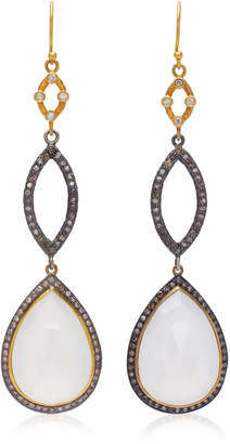 Sara Weinstock Tiered 18K Gold Moonstone And Diamond Earrings