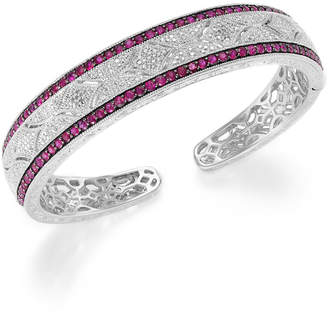 Macy's Ruby (1-3/4 ct. t.w.) and Diamond (1/10 c.t. t.w.) Cuff Bangle Bracelet in Sterling Silver