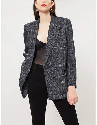 The Kooples Double-breasted cotton-blend woven blazer