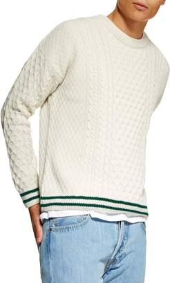 Topman Cable Knit Crewneck Sweater
