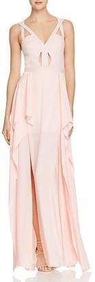 BCBGMAXAZRIA Cutout Ruffle Gown $368 thestylecure.com