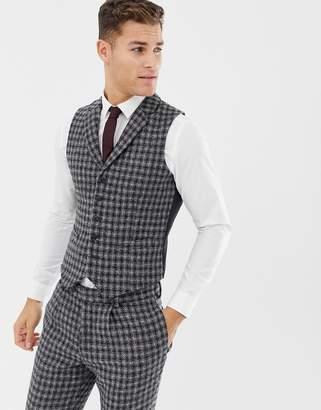 Asos DESIGN slim suit vest in 100% wool Harris Tweed in monochrome